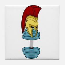 Spartan's helmet on dumbbell Tile Coaster
