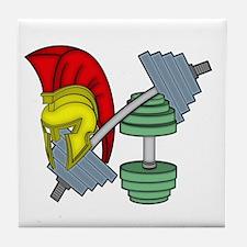 Spartan's helmet on gym equipment Tile Coaster