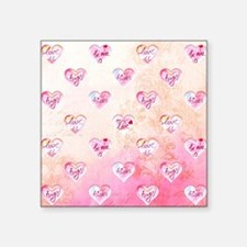 Vintage Pink Hearts with Love Words Sticker