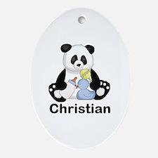 Christian's Little Panda Oval Ornament