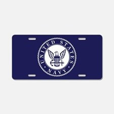 US Navy Emblem Blue White Aluminum License Plate