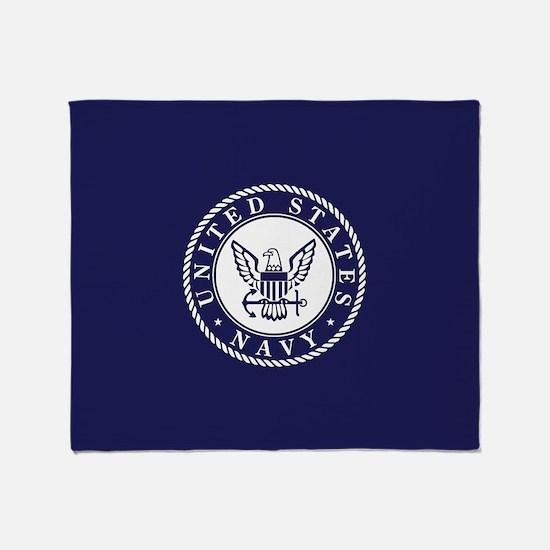 US Navy Emblem Blue White Throw Blanket