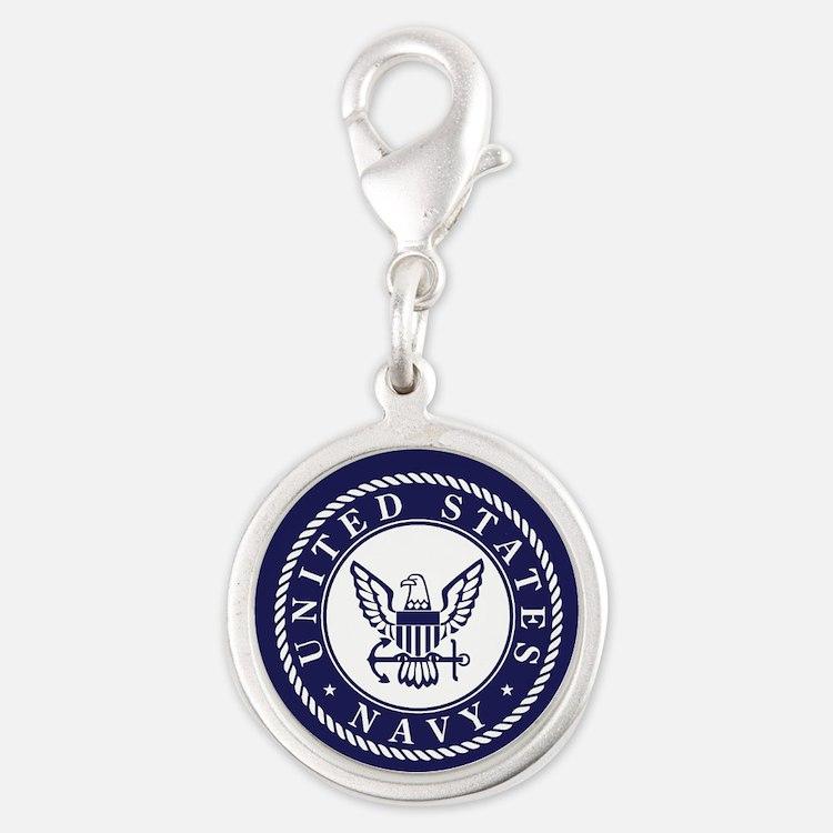 US Navy Emblem Blue White Charms