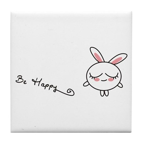 Be Happy Bunny Tile Coaster