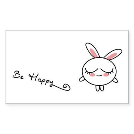 Be Happy Bunny Rectangle Sticker