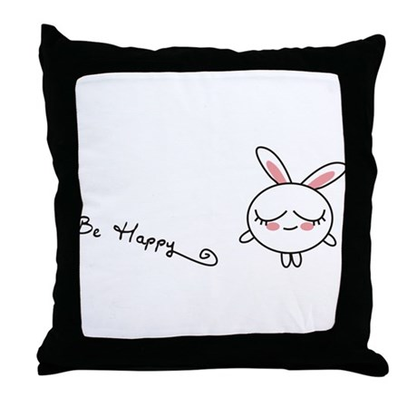 Be Happy Bunny Throw Pillow