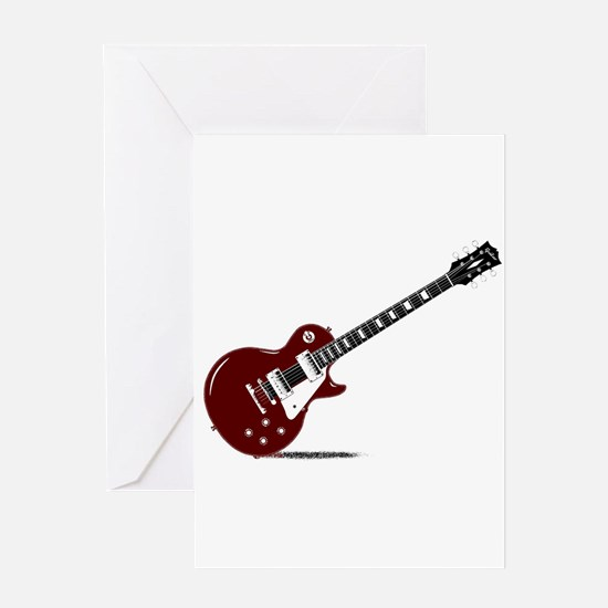 Isolated Rock Guitar Greeting Cards