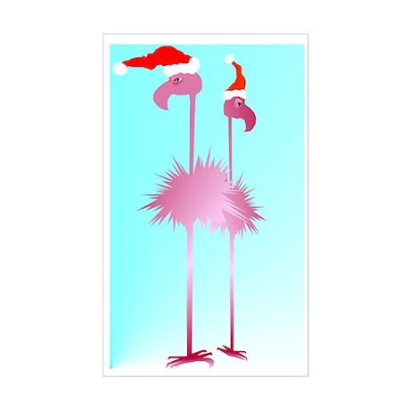 Two Pink Christmas Flamingos Rectangle Sticker