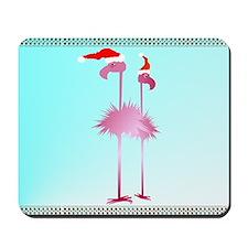 Two Pink Christmas Flamingos Mousepad