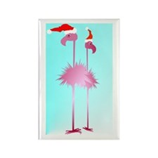 Two Pink Christmas Flamingos Rectangle Magnet