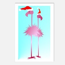 Two Pink Christmas Flamingos Postcards (Package of