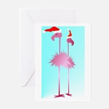 Two Pink Christmas Flamingos Greeting Cards (Pk of