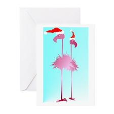 Two Pink Christmas Flamingos Greeting Cards (Pk of