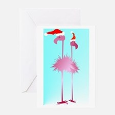Two Pink Christmas Flamingos Greeting Card