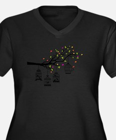 Birds and birdcages Plus Size T-Shirt