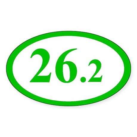 Green 26.2 Marathon Oval Sticker