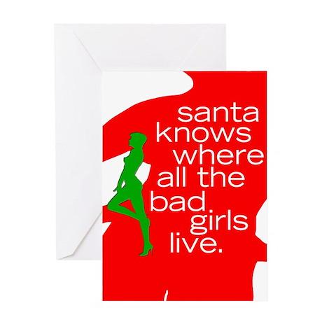 Santa knows... Bad Girls Greeting Card