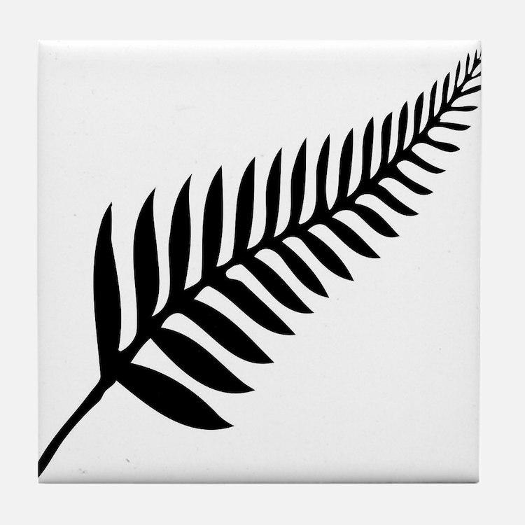 Silver Fern of New Zealand Tile Coaster