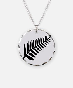 Silver Fern of New Zealand Necklace Circle Charm