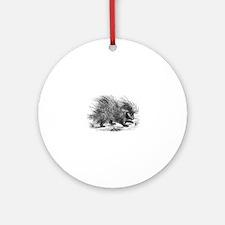 Vintage Porcupine Porcupines Black Round Ornament