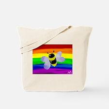 Gay bee rainbow art Tote Bag