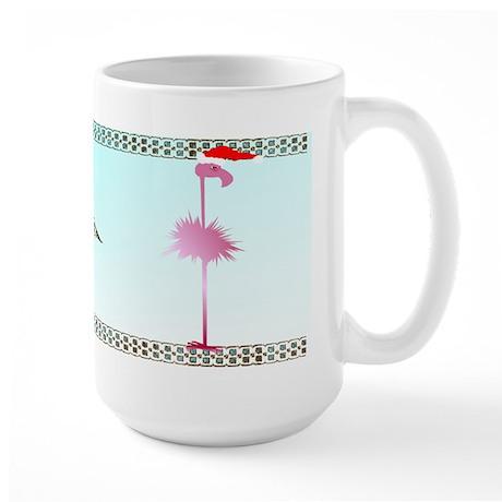 One Pink Christmas Flamingos Large Mug