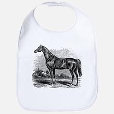 Vintage Race Horse American Black White Bib