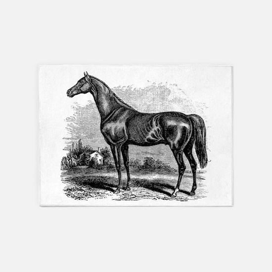 Vintage Race Horse American Black W 5'x7'Area Rug