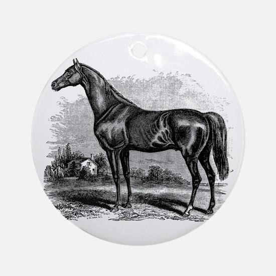 Vintage Race Horse American Black W Round Ornament