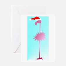 One Pink Christmas Flamingos Greeting Card