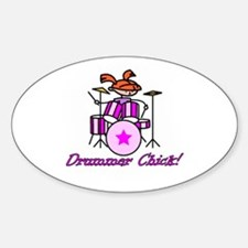Drummer Chick Oval Decal