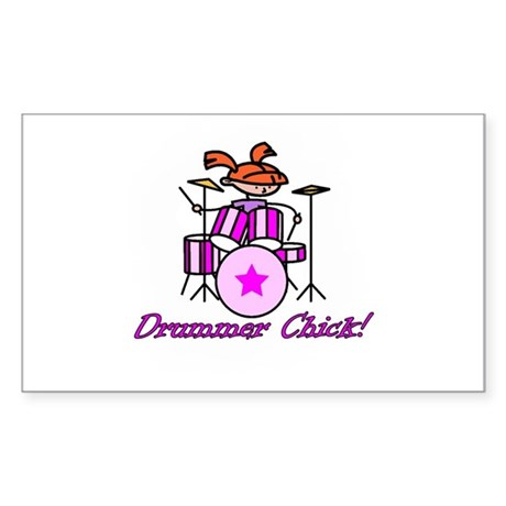 Drummer Chick Rectangle Sticker