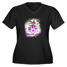 Drummer Chick Women's Plus Size V-Neck Dark T-Shir