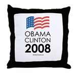 Obama / Clinton 2008 Throw Pillow