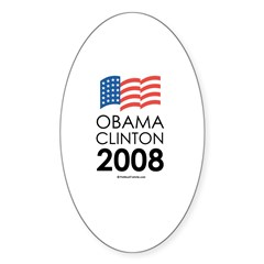 Obama / Clinton 2008 Oval Decal