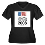 Obama / Clinton 2008 Women's Plus Size V-Neck Dark