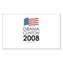Obama / Clinton 2008 Rectangle Decal
