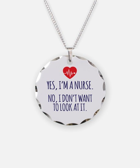 Cute Holiday nurse Necklace Circle Charm