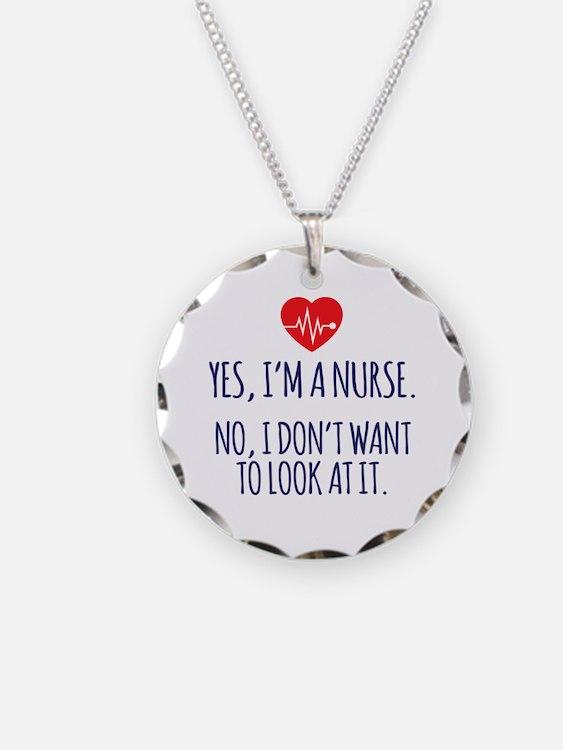 Cute Holiday nurse Necklace Circle Charm
