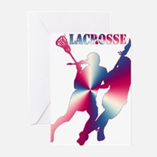 Lacrosse Red White and Blue Greeting Cards
