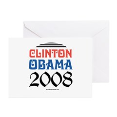 Clinton / Obama 2008 Greeting Cards (Pk of 20)