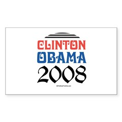 Clinton / Obama 2008 Rectangle Decal