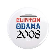 """Clinton / Obama 2008 3.5"""" Button"""