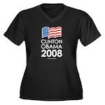 Clinton / Obama 2008 Women's Plus Size V-Neck Dark