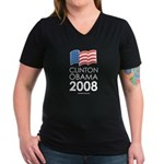 Clinton / Obama 2008 Women's V-Neck Dark T-Shirt