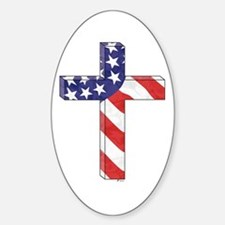 Freedom Cross Oval Decal