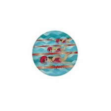Little Swimmer Girls Mini Button