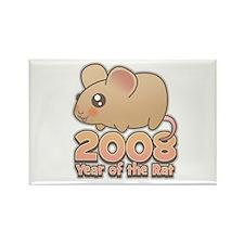 Cute 2008 Year Rat Rectangle Magnet