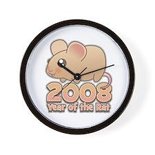 Cute 2008 Year Rat Wall Clock