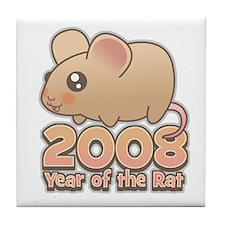 Cute 2008 Year Rat Tile Coaster